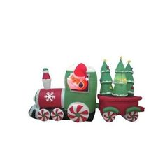 8 Foot Long Inflatable Santa Claus Driving Train on Candy Wheels Pulling Christmas Trees  With self-inflating design, this Inflatable will be presented in front of your family in seconds. With the lights, it is the perfect decoration at your front door or backyard at night. Worried about storage? Simply let the air out and fold it! Caution: Do not inflate during storms or strong winds. Protect fan and power cord from water. Not for use in temperatures below 14 degrees F (or -10 degre..