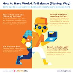 Some tips to create work-life balance for startup people.