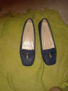 aaf75d959405 Flats · Stylish NEW Michael Kors Navy Blue Moccasian Women Loafers  fashion   clothing  shoes
