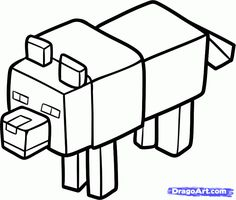 minecraft coloring pages of steve AND A HOUSE | How to Draw a Minecraft Wolf, Step by Step, Video Game Characters, Pop ...