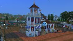 A cute New England style restaurant Sims 4 Houses, New England Style, The Expanse, Restaurant, Ts4 Cc, Mansions, House Styles, Building, Free