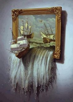 """trompe l' oeil.  Makes me think of the beginning of C.S. Lewis' """"Voyage of the Dawn Treader""""..."""