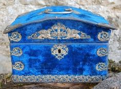 Antique French Blue Velvet Sewing Box