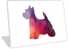 West Highland White Terrier - Westie - Colorful Geometric Pattern Silhouette by TriPodDogDesign