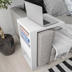 Chisdock Floor Shelf End Table with Storage - Chisdock Floor Shelf End Table with Storage Hashtag Home Chisdock End Table Space Saving Furniture, Diy Furniture, Space Saving Table, Multifunctional Furniture, Arm Rest Table, Sofa Arm Table, White End Tables, Floor Shelf, Diy Casa