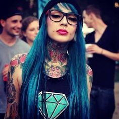 girl, tattoo, and blue image