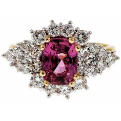 Preowned Natural Hot Pink Sapphire Diamond Gold Platinum Cocktail Ring (£5,280) ❤ liked on Polyvore featuring jewelry, rings, pink, 18k yellow gold ring, pink diamond ring, 18 karat gold ring, diamond cocktail rings and pink sapphire diamond ring