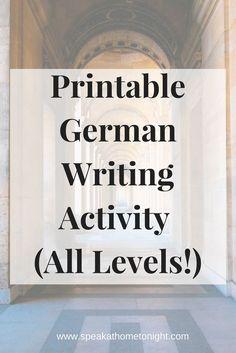 Teach German, Learn German, German Writing Activity, German Printable, German PDF