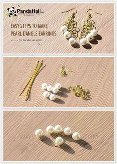 Jewelry Making Tutorial--Easy Steps to Make Pearl Dangle Earrings | PandaHall Beads Jewelry Blog