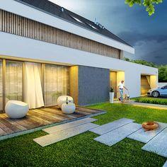 Otwarty - dom parterowy z poddaszem użytkowym i garażem   doomo Dream Houses, Pergola, Exterior, Architecture, Outdoor Decor, Summer, Home Decor, Patio, House