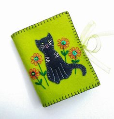 Cat Needle Book Wool Felt Needle Case by PatriciaWelchDesigns, $15.00