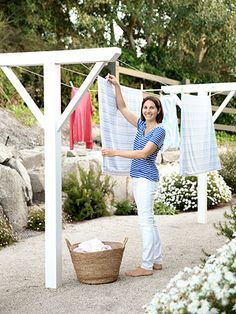 One of this homeowner's top requirements for the property? A clothesline, positioned off her laundry room.