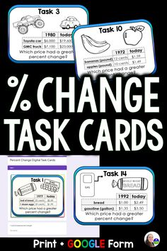 The prices of everything have changed so much over the years, and not always at the same rate as salaries. This set of percent change task cards is based on past and current costs of items. They allow students to compare the percent increase of items to figure out which has had a greater percent change. There are other fun financial literacy activities linked in this post, too. scaffoldedmath.com 7th Grade Math, Math Class, Consumer Math, School Jobs, Everything Has Change, Financial Literacy, Literacy Activities, Task Cards