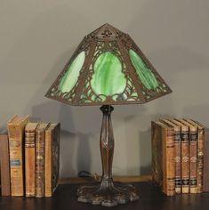 Green Art Nouveau Style Slag Glass Lamp Slag Glass