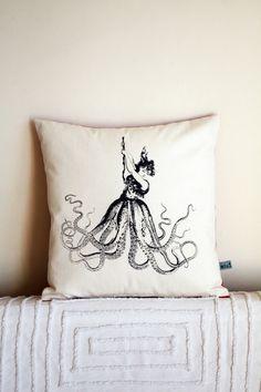 Octopus Woman silk screened pillow. $55.00, via Etsy.