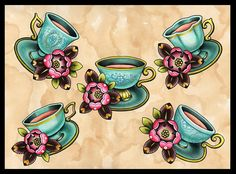 Turquoise Teacups Tattoo Art  Print by amybird on Etsy, £10.00