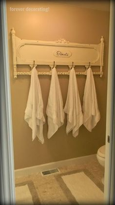 Towel rack from bed frame.
