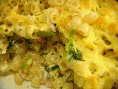 Swedish macaroni casserole recipe, makaronipudding. Baked macaroni with ham, leek, and cheese.