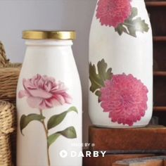 Upcycle Milk Bottles into Shabby Chic Inspired Floral Vases. SHOP the Supplies Through Link Below. #darbysmart #diy #upcycle #crafts #floral #vintage