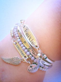 A personal favorite from my Etsy shop https://www.etsy.com/listing/273030664/personalized-cancer-awareness-bracelets