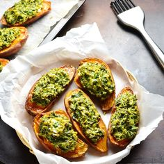 These simple Loaded Spinach Sweet Potato Boats make a quick and delicious vegetarian side dish, which can also be enjoyed as an appetizer or light lunch. Serve hot or cold. Vegetarian Side Dishes, Vegetarian Snacks, Healthy Vegan Snacks, Healthy Recipes, Healthy Eating, Savoury Recipes, Spicy Recipes, Vegan Food, Clean Eating