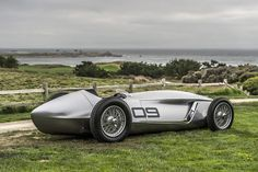 Infiniti revealed their Prototype 9 car concept model at the Pebble Beach Concours D'Elegance. The fully-electric model was inspired by retro race cars and created as an internal hobby project.