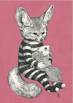「パジャマ」(2013) Art And Illustration, Gravure Illustration, Illustrations And Posters, Art Plastique, Artist Art, Cat Art, Surreal Art, Art Inspo, Alice In Wonderland