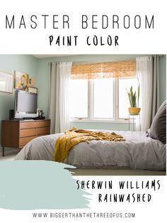 Eclectic, Modern Master Bedroom with Rainwashed by Sherwin Williams on the the wall.