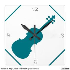 Violin in Any Color You Want - Square Clock: Not only is this clock designed for any violinist, whether professional, student, teacher, or simply someone who loves music, but the accent color can be anything you wish--except white.Violin in Any Color You Want Square Wall Clocks