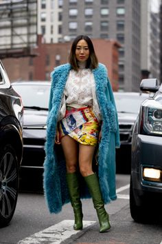 Aimee Song in a long blue faux fur coat, Aimee Song colorful mini skirt knee high green boots and a long blue faux fur coat, New York Street Style, Nyfw Street Style, Autumn Street Style, Street Style Women, Fashion Show Street Style, London Street, Men Street, Star Fashion, Fashion Outfits