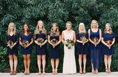 mismatching bridesmaid dresses navy fall - Google Search
