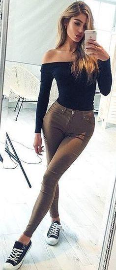 Black Bardot Top + Tan Jeans Source