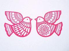 Scandinavian style deep pink Dove Games screen print by Janefoster