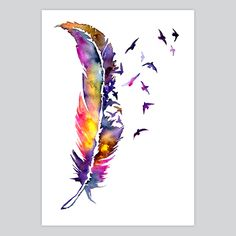 how to watercolor a feather - Google Search