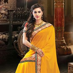 #Orange Faux #ChiffonSaree with Blouse