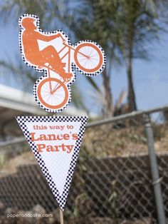 Bmx Dirt Bike Printable Birthday Party Invitation and Decorations