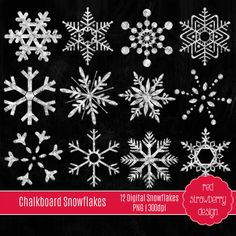 These high resolution Chalkboard Snow Flakes are great for a wide use of creative projects and crafts, such as scrapbooking, invitations,