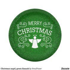 Christmas angel, green damask paper plate