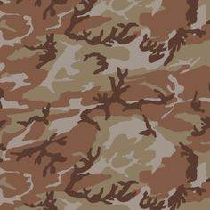 CAMO DESERT  Camouflage texture of light green, dark and light brown, and grey swirls.