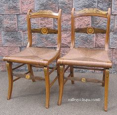 Pr Antique New England York Fancy Side Chairs Hand Paint Decorated Scroll Klismos Legs. $725.00, via Etsy.