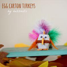 Kid craft Egg Carton and/or pom pom turkeys