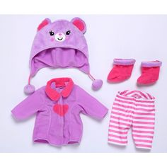 Baby Alive One Size Fits All Outfits - Cozy Coat Fits dolls Baby Alive dolls sized 12 - 14 inches. Doll sold separately.Your baby will stay nice and warm in this adorable outfit. The coat ensemble set includes cozy coat, with pants, cute hat and boots. Appropriate for ages 3 and up.