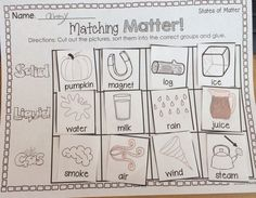 States of Matter FREEBIE! Students will cut out the pictures, sort them into the correct #StatesOfMatter group and glue. 2 versions included. #sheilamelton
