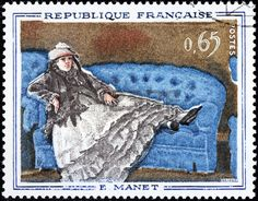 Engraving after painting Madame Manet on the Blue Sofa by French painter Edouard Manet (1832-1883), stamp printed by FRANCE, circa 1962