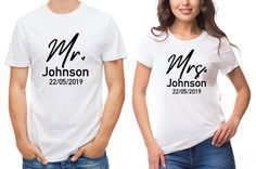 white T-Shirts set. His and her set, with custom wedding date. Newly weds, Husband and wife by SoulGoldTees on Etsy New Baby Announcements, First Fathers Day, Surnames, Custom Items, Newlyweds, Husband, T Shirts For Women, Free Uk, Lady