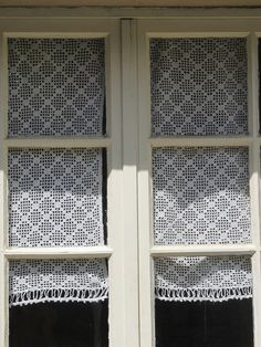 Kitchen window? french crochet lace panel, hand crochet panel, crochet lace curtain,. $35.00, via Etsy.