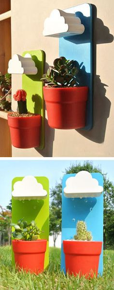 Convenience Meets Cute With These Amazing Rain Cloud Planters That Water Your Plants For You ❤︎ #gardening