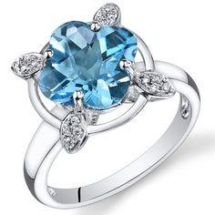 Peora 14K White Gold Lily Cut Swiss Blue Topaz Diamond Ring (3.83 cttw) Peora