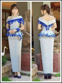 Traditional Thai Printed Pattern Designs Thai Artificial Silk Short Sleeve Shirt Blue
