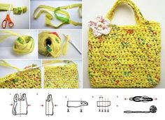 Plastic bag crochet bag - Kind of want to try this. we have so many plastic bags! Plastic Bag Crafts, Plastic Bag Crochet, Recycled Plastic Bags, Plastic Grocery Bags, Crochet Purses, Yarn Crafts, Sewing Crafts, Hand Knitting, Knitting Patterns